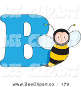 Vector Clip Art of a B Is for Bumblebee Learn the Alphabet Scene by Maria Bell