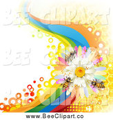Vector Clip Art of a Background of Bees on a Daisy Rainbow Wave with Honeycombs by Merlinul