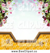 Vector Clip Art of a Background of Blossoms and Bees on Honey over Clovers by Merlinul