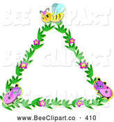 Vector Clip Art of a Beautiful Floral Triangle with Ladybugs and a Bee by