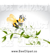 Vector Clip Art of a Bee and Branch with White Blossoms on Gray by