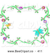 Vector Clip Art of a Bee and Butterfly Floral Frame on White by