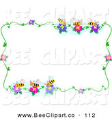 Vector Clip Art of a Bee and Flower Border Frame on White by