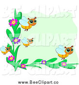 Vector Clip Art of a Bee and Flower Frame over Green by