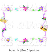 Vector Clip Art of a Bee and Hibiscus Frame by