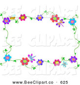 Vector Clip Art of a Bee, Dragonfly and Flowering Vine Border on White by