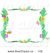 Vector Clip Art of a Bee, Flower and Plant Border Frame on White by