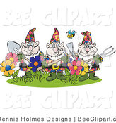 Vector Clip Art of a Bee Flying over Garden Gnomes by Dennis Holmes Designs