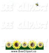 Vector Clip Art of a Bee Flying over Sunflowers on White by Maria Bell