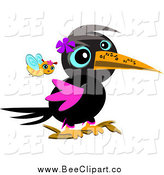 Vector Clip Art of a Bee Following a Crow with a Tattooed Beak by