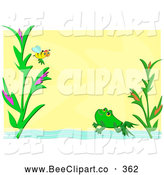 Vector Clip Art of a Bee Frog and Pond Frame over Yellow by