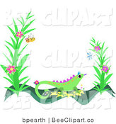 Vector Clip Art of a Bee near Flowers over a Green Lizard Frame by