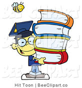 Vector Clip Art of a Bee over a Boy with School Books by Hit Toon