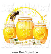 Vector Clip Art of a Bee over Three Natural Honey Jars and a Guaranteed Banner by Merlinul