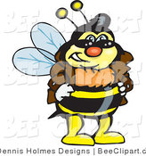 Vector Clip Art of a Bee Wearing a Leather Jacket and Sunglasses by Dennis Holmes Designs