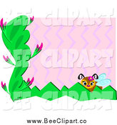 Vector Clip Art of a Bee with Plants, Pink Zig Zags and White Edges by