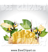 Vector Clip Art of a Bees and a Money in a Nest on Gray by