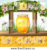 Vector Clip Art of a Bees and Honey Combs Under a Jar in a Frame with Flowers and Grass by Merlinul
