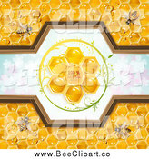 Vector Clip Art of a Bees and Honeycomb Natural Label over Clovers by Merlinul