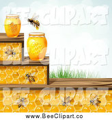 Vector Clip Art of a Bees and Honeycomb Steps with Jars Grass and Sky by Merlinul