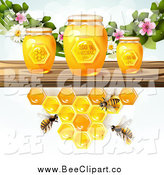 Vector Clip Art of a Bees and Honeycombs at a Shelf with Jars and Blossoms by Merlinul