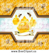 Vector Clip Art of a Bees and Honeycombs by Merlinul