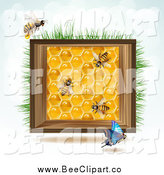 Vector Clip Art of a Bees and Honeycombs in a Wood Box Against Sky by Merlinul