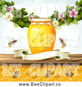 Vector Clip Art of a Bees and Honeycombs Under a Jar Blossoms and Blank Banner by Merlinul
