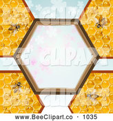 Vector Clip Art of a Bees and Honeycombs with a Hexagon Frame over Clovers by Merlinul