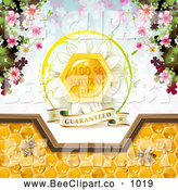 Vector Clip Art of a Bees and Honeycombs with a Natural Label by Merlinul