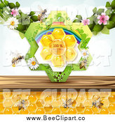 Vector Clip Art of a Bees and Honeycombs with Blossoms and Natural Label by Merlinul