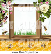 April 30th, 2014: Vector Clip Art of a Bees and Honeycombs with Flowers and Text Space by Merlinul