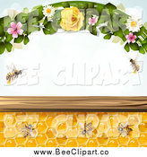 Vector Clip Art of a Bees and Honeycombs with Flowers and Text Space by Merlinul