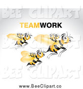 Vector Clip Art of a Bees Carrying Young Ones on a Fly Along by