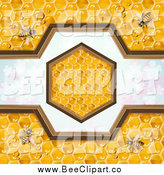 Vector Clip Art of a Bees on Honeycombs with a Hexagon Design over Clovers by Merlinul