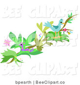 Vector Clip Art of a Bird Perched on a Branch, with a Worm, Honey Bee and Butterfly by