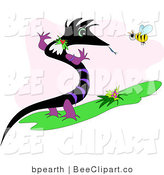 Vector Clip Art of a Black and Purple Dragon or Lizard Standing up and Talking to a Honey Bee by