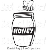 Vector Clip Art of a Black and White Bee Flying Above a Jar of Honey by David Rey