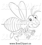Vector Clip Art of a Black and White Happy Wasp Flying by Alex Bannykh