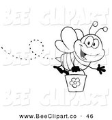 Vector Clip Art of a Black and White Honey Bee Flying with a Bucket and Waving Hello by Hit Toon