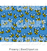 Vector Clip Art of a Blue Background of Busy Honey Bees Buzzing Around by Prawny