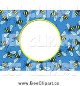 Vector Clip Art of a Blue Bee Frame with Text Space by Prawny