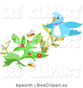 Vector Clip Art of a Blue Bird or Jay Perched on a Flowering Plant with Honey Bees by