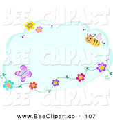Vector Clip Art of a Blue Cloud with Flowers, Butterflies and a BeeBlue Cloud with Flowers, Butterflies and a Bee by