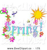 Vector Clip Art of a Blue Spring Time Greeting with a Dragonfly, Bee and Flowers Under the Sun by Pams Clipart