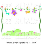 Vector Clip Art of a Blue Worm, Bird, Bee and Butterfly Drying on a Line, with Text Space by