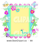 Vector Clip Art of a Border Frame of Flowers and Bugs on Yellow by