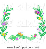 Vector Clip Art of a Border Frame of Leaves and Bugs on White by