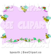 Vector Clip Art of a Border of Bees and Flowers with Pink Copyspace by