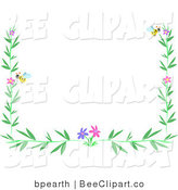 Vector Clip Art of a Border of Bees Green Leaves and Colorful Flowers by
